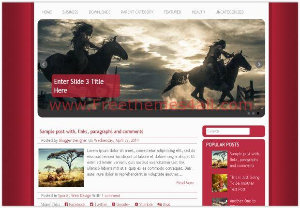 Red Responsive Movie Blogger Template