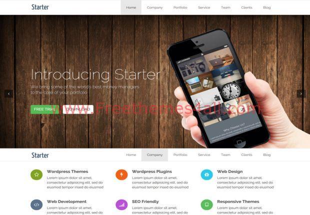 Starter Bootstrap One Page WordPress Theme