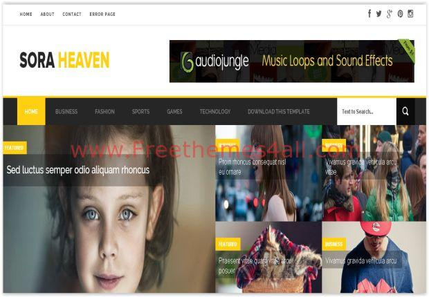 Responsive Yellow Blogger Magazine Theme
