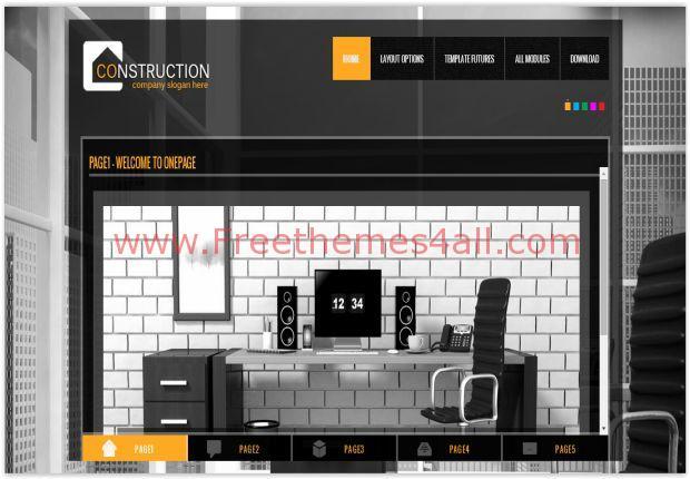 OnePage Construction Joomla Template