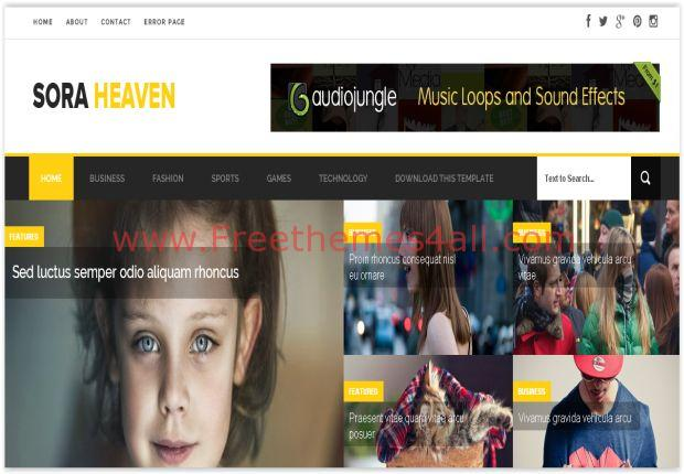 Yellow Responsive Blogger Magazine Template