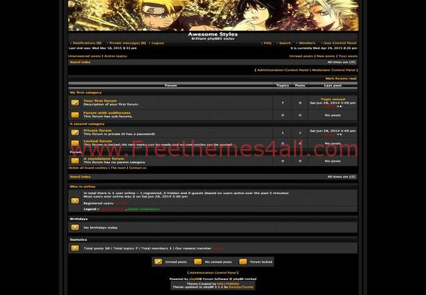 Golden Black Anime Phpbb Theme
