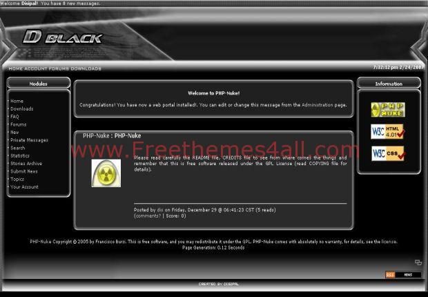 Reactor Dark Black Phpnuke Theme Free Download