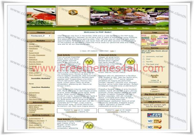 Free Clean Simple Restaurant Phpnuke Theme
