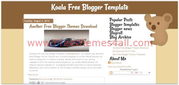 Brown Yellow Free Koala Blogger Template