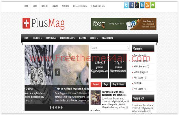 Magazine Free Blogger Responsive Template