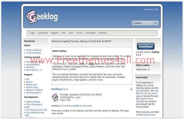 Geeklog Free Blog CMS Script