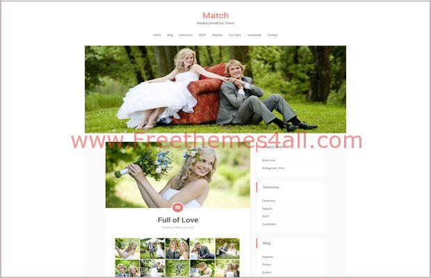 Match Responsive Wedding WordPress Theme