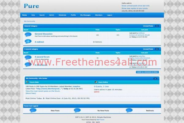 Clean Grey Blue SMF Theme Template