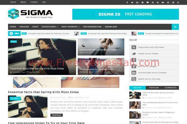Blue Responsive Blogger Magazine Template