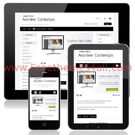 Free Black White Responsive ZenCart Template - Freethemes4all