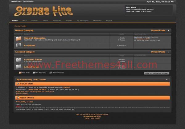 Responsive Black Free Orange SMF Theme - Freethemes4all