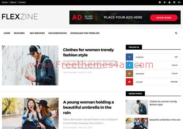 Responsive Magazine Blogger News Template Freethemes4all